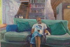 Homenajes a la cotidianidad: En el sofá del estudio  Técnica: Acrílico Medidas: 73cmx54cm Año 2020