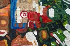 Abstracciones sobre papel III.Acrílico y collage 24  cm x 17 cm 2016