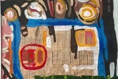 Abstracciones sobre papel VI.Acrílico y collage 24  cm x 17 cm 2016