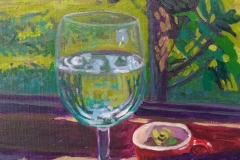 Copa de agua en la ventana de la cocina. Acrílico 18 cm x 24 cm 2020