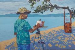 Autoretrato. Playa Iguanita. Guanacaste30cm x 20cm 2019 acrilico