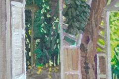 Entrada principal de la Casa Estudio Acrílico 14 cm x 22 cm 2019