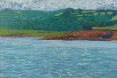 Lago Arenal III. Acrílico 14 cm x 22 cm 2019