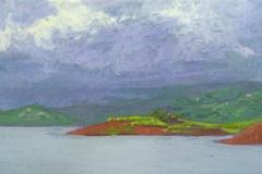 Lago Arenal V. Acrílico 14 cm x 22 cm 2019