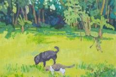 Akira la Gata y Negra la Perra en el patio. Acrílico 14 cm x 22 cm 2019