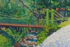 Puente de hamaca sobre río el jilguero. Acrílico 20 cm x 20 cm 2020