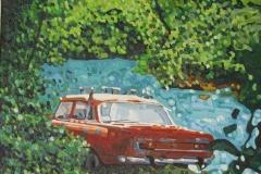 Serie: objeto paisaje II. Acrílico 40 cm x 30 cm 2009