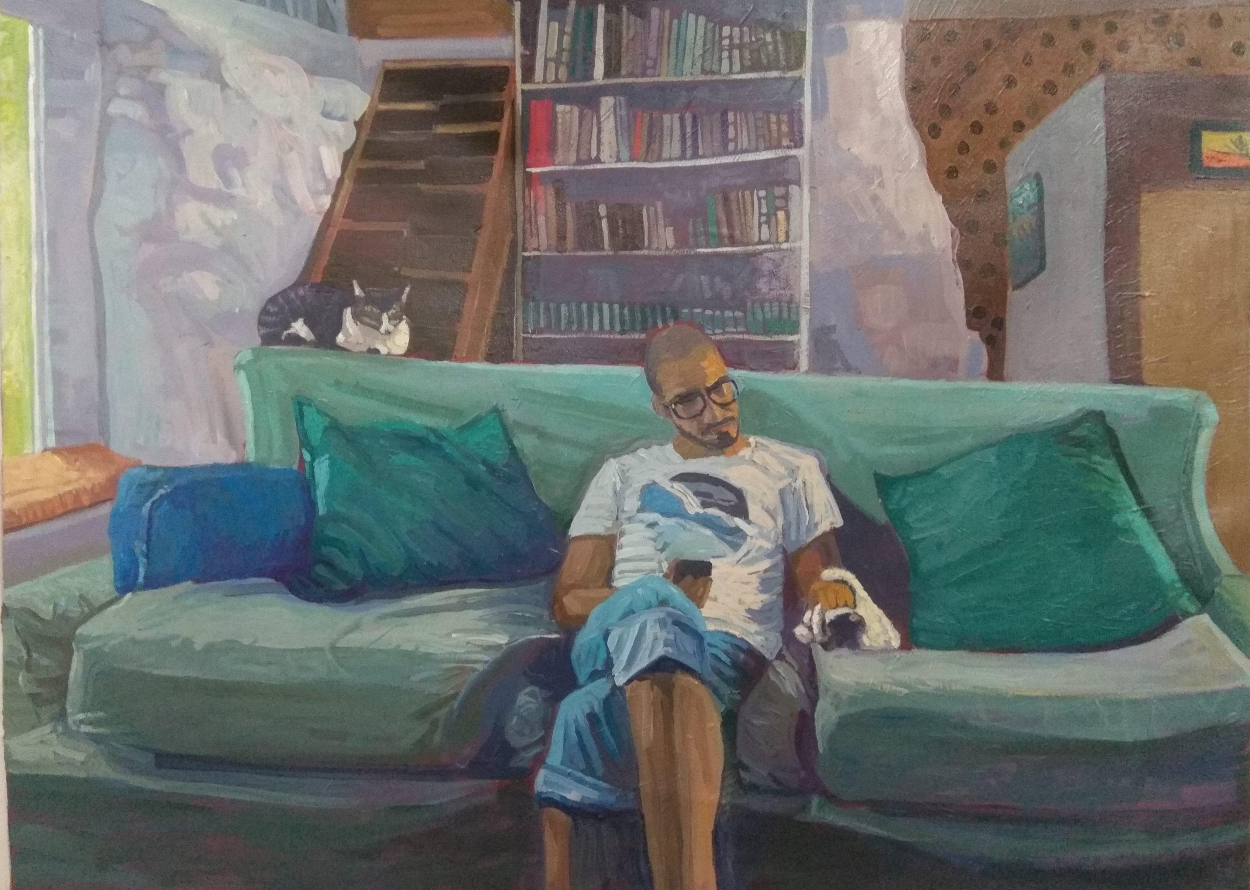 Homenajes a la cotidianidad: En el sofá del estudio.  Técnica: Acrílico. Medidas: 73cmx54cm. Año 2020.